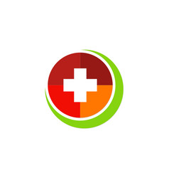 Cross hospital colored logo vector