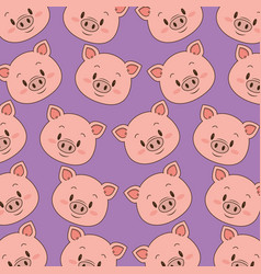 cute and little pig heads pattern vector image