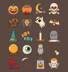 cute halloween set icon vector image