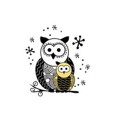 decorative owl silhouette vector image