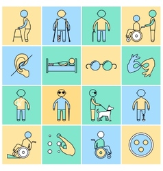 Disabled icons set flat line vector
