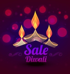 Diwali sale design with colorful diya vector