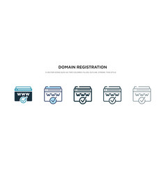 Domain registration icon in different style two vector