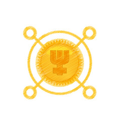Drawing primecoin currency icon vector