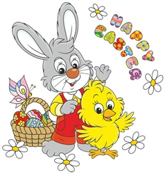 Easter Bunny and Chick vector