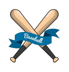 emblem baseball game icon vector image