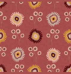 fall flowers seamless pattern hand drawn vector image