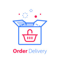 Fast delivery open box shipping order vector
