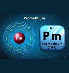 Flashcard of Promethium atom vector image