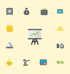 flat icons billfold growing chart ingot and vector image