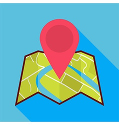Flat Map Icon with Map Pin and Long Shadow vector