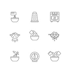 Food cooking instruction linear icons set vector