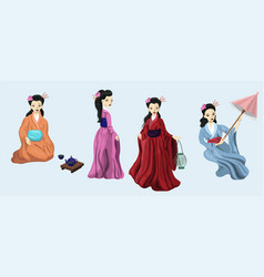 four japanese girls in national costumes image vector image