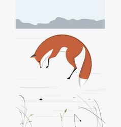 Fox catch mice vector