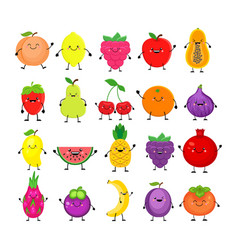 Funny cartoon set of different fruits smiling vector