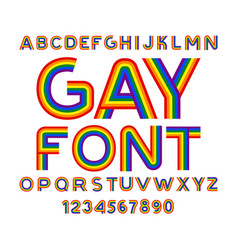 Gay font rainbow letters lgbt abc for symbol of vector