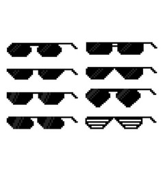 glasses in pixel art style vector image