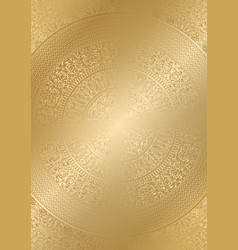 Golden round floral pattern gradient color vector