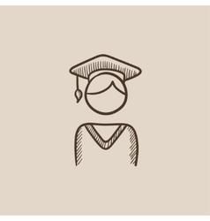 Graduate sketch icon vector image