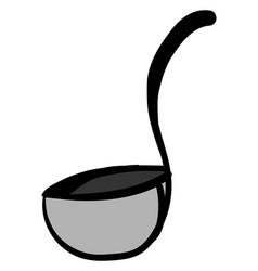 grey ladle on white background vector image