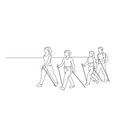 Group people walks on foot with walking sticks vector