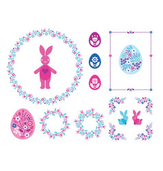 happy easter set with colored eggs for vector image