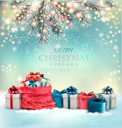 Holiday christmas background with a sack full of vector