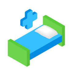 Hospital bed and cross isometric 3d icon vector image