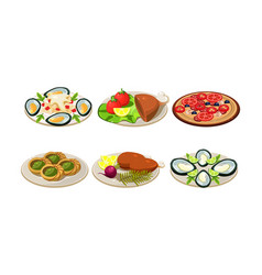 isolated flat set appetizing dishes vector image