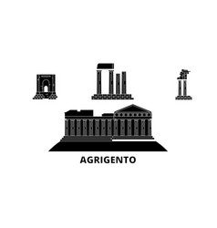Italy agrigento flat travel skyline set italy vector