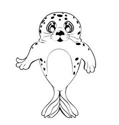 Kawaii seal black and white vector
