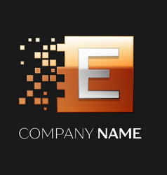 Letter e logo symbol in the colorful square vector