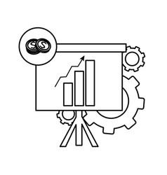 Line statistics bar growing presentation with vector