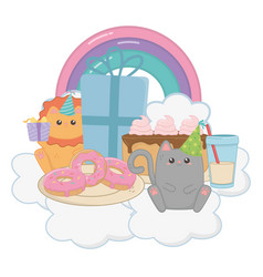lion and cat in happy birthday celebration vector image
