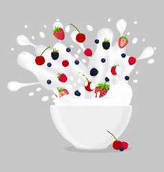 Logo for milk splash berries vector