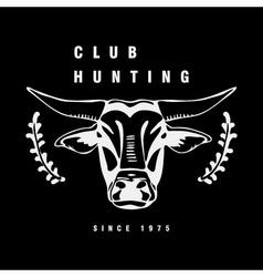 Logo symbol sign stencil bull headunique technique vector