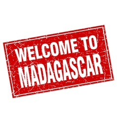 Madagascar red square grunge welcome to stamp vector