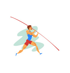Male athlete jumping with a pole professional vector