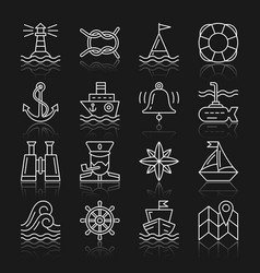 Nautical white thin line icon set with reflection vector