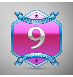 Nine years anniversary celebration silver logo vector image