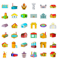 Old building icons set cartoon style vector