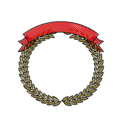 Olive branches forming a circle with ribbon thick vector