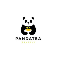 panda tea cup logo icon vector image