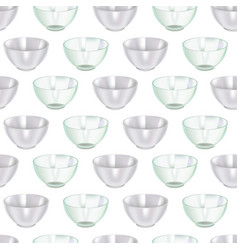 realistic detailed 3d glass and ceramic bowl vector image