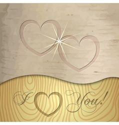 Saint Valentines wooden background vector image