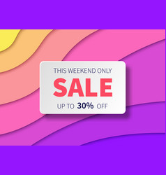 sale banner with paper cut colorful background vector image