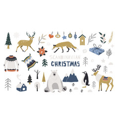 Scandinavian christmas merry vector
