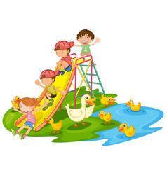 scene with many kids playing slide in the vector image