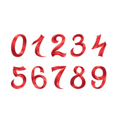 set of festive red ribbon digits iridescent vector image