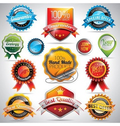 Set of labels and badges with shiny styled vector